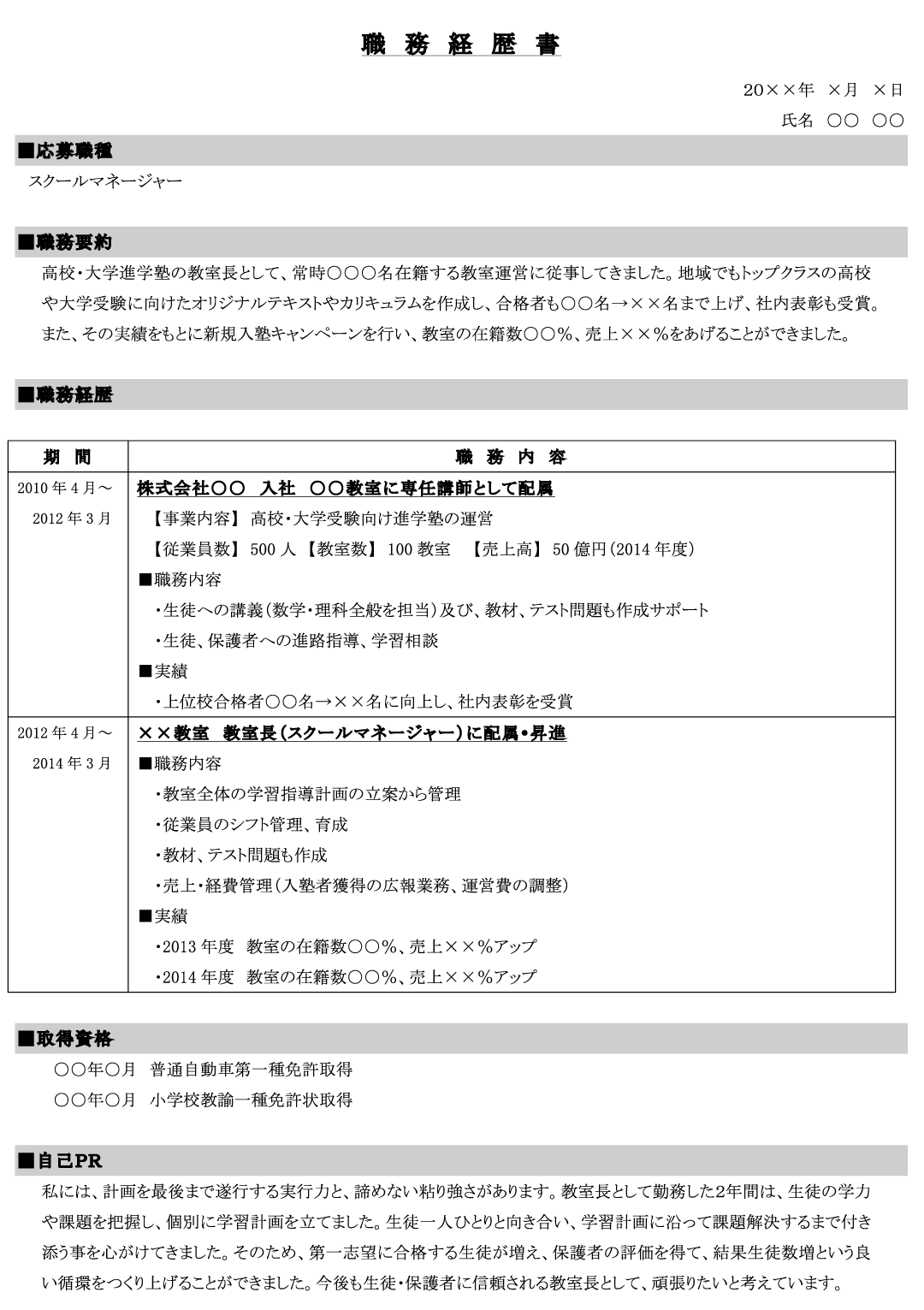 アルバイト 履歴 書 職歴